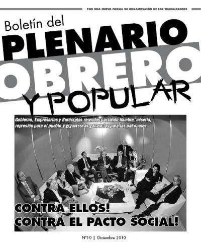 Boletín del PLENARIO OBRERO Y POPULAR - Nro 10
