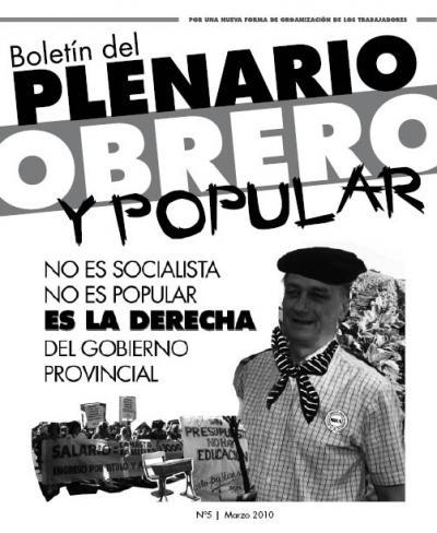 Boletín del PLENARIO OBRERO Y POPULAR - Nro 5