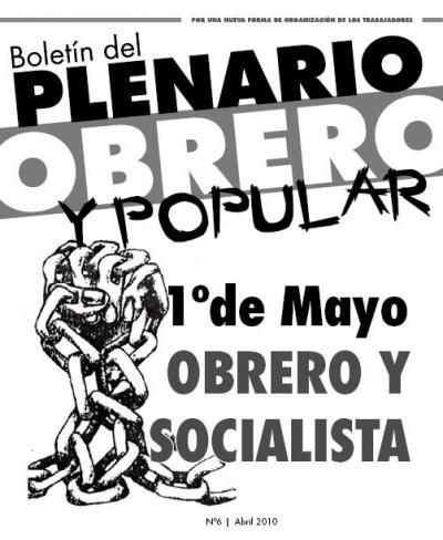 Boletín del PLENARIO OBRERO Y POPULAR - Nro 6