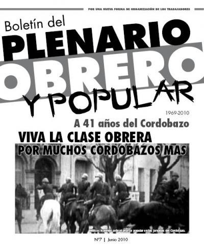 Boletín del PLENARIO OBRERO Y POPULAR - Nro 7